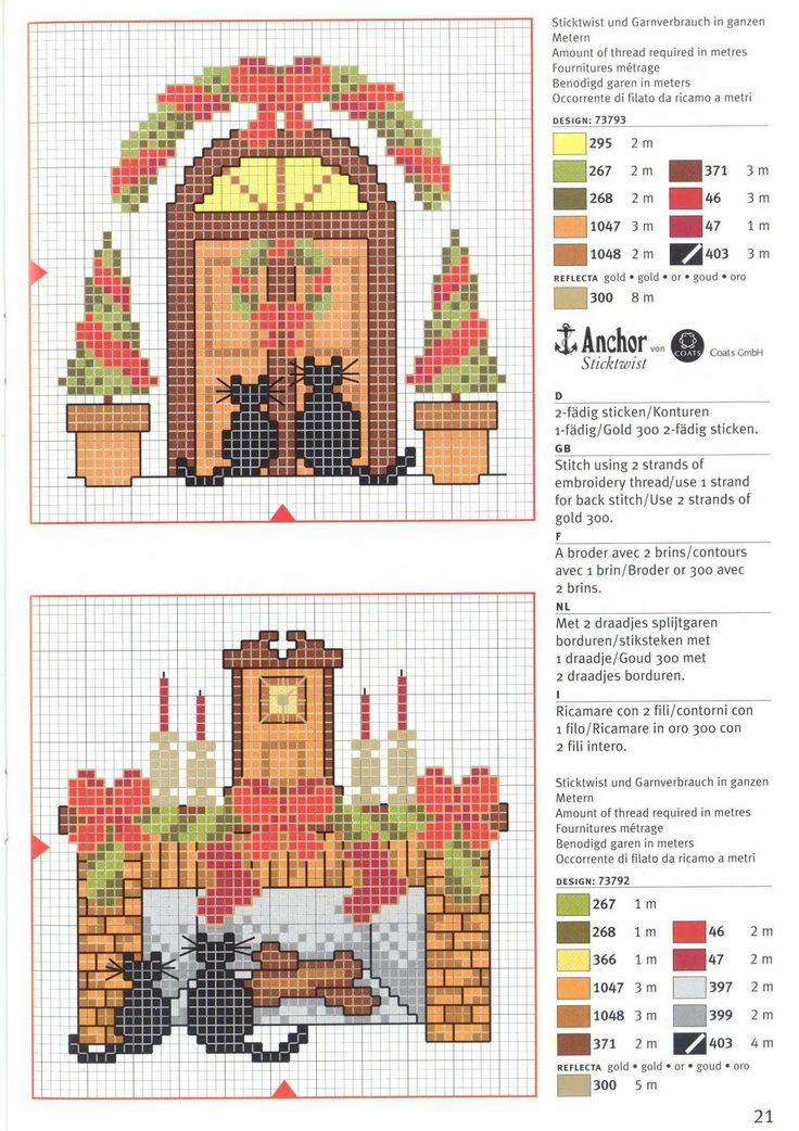 Cats at Christmas • 1/2 Charts with colour keys