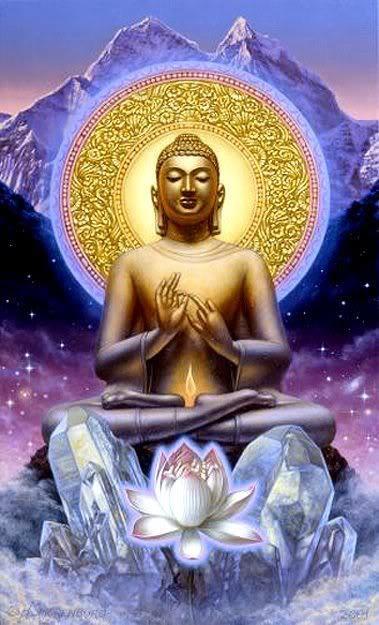 Golden Sun. Buddha. Lotus.