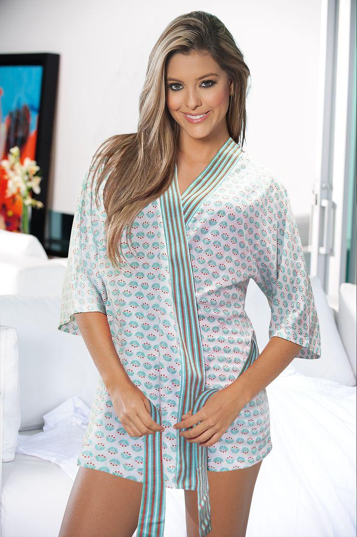 Ref: 1410405-Short Kimono - Size: S - M - L - XL- Material: PIMA Cotton/100 - Color: White/ printed