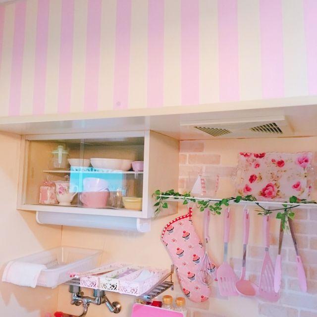 Mt Casa 壁紙 大人可愛い ピンク キッチンdiy などのインテリア実例