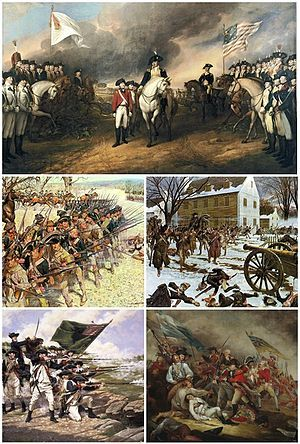Clockwise from top left: Surrender of Lord Cornwallis after the Siege of Yorktown, Battle of Trenton, The Death of General Warren at the Battle of Bunker Hill, Battle of Long Island, Battle of Guilford Court House