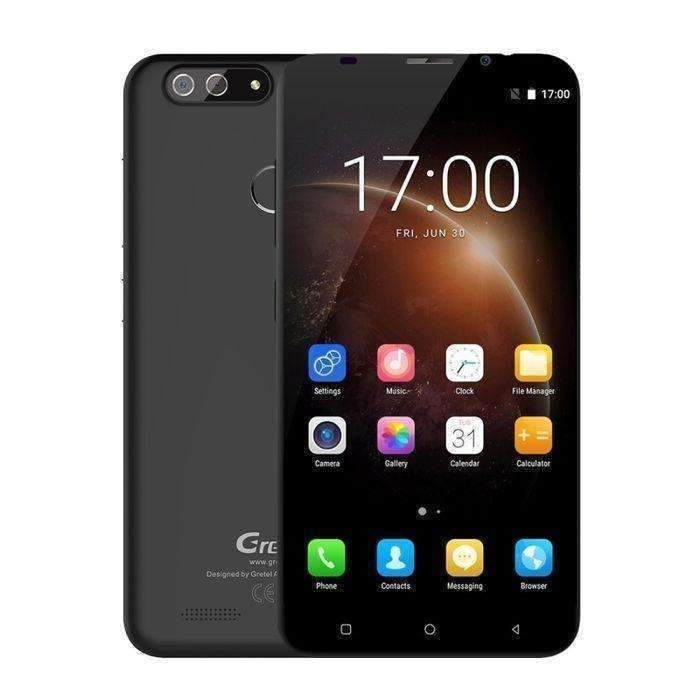 Black Gretel S55 1gb+16gb Dual Back Cameras Fingerprint Identification 5.5 Inch Android 7.0 Mtk6580a
