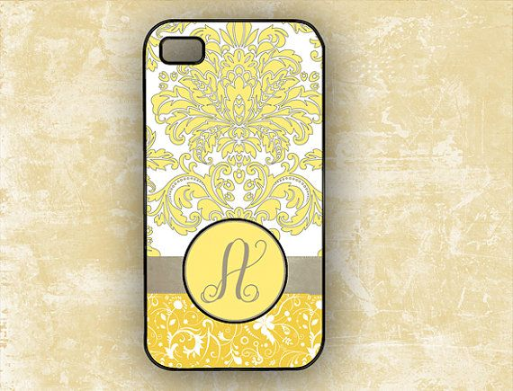 iPhone 4 cover - gray and yellow damask - monogrammed Iphone 5 cover, Personalized  Iphone 4s cover Iphone 5 case plastic or silicone (9644 on Etsy, $16.99