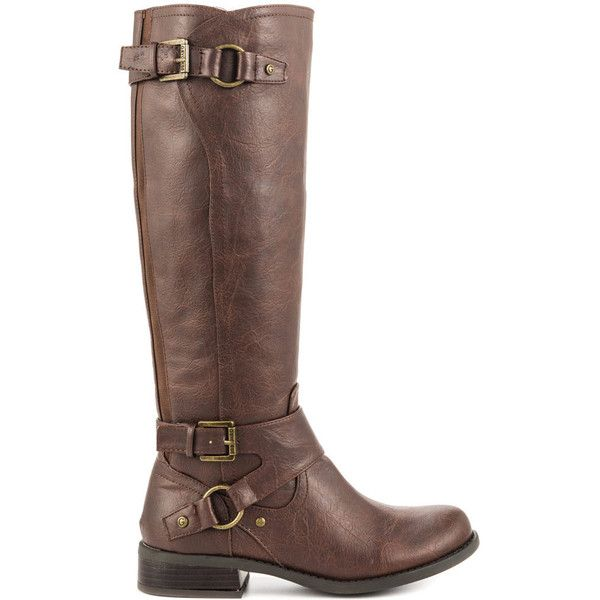 G by Guess Women's Hakan - Dark Brown LL ($100) ❤ liked on Polyvore featuring shoes, boots, brown, buckle boots, g by guess boots, brown knee high boots, vegan boots and tall knee high boots