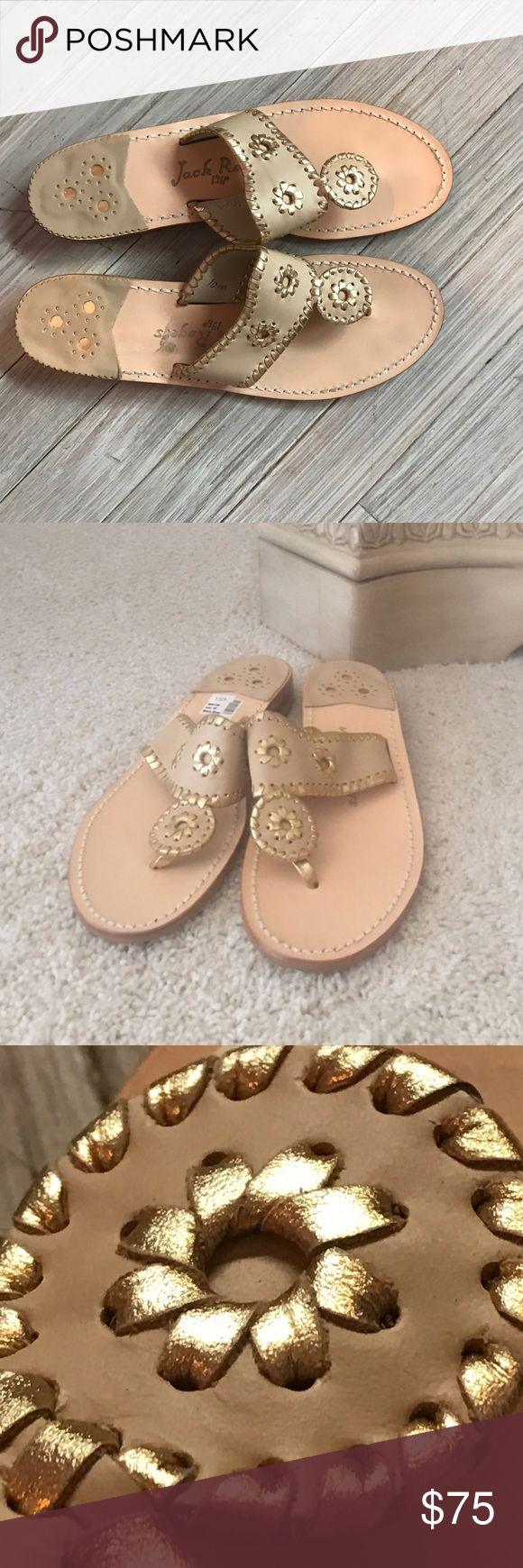 jack rogers thong sandals!!! NWT only worn once. got these and they were too small, so hopefully someone will get more use out of them than i did! such a cute sandal and i'm so bummed they didn't work out for me:( go great with jeans, dresses, or even just a casual day at the beach or night out. 💕 Jack Rogers Shoes Sandals
