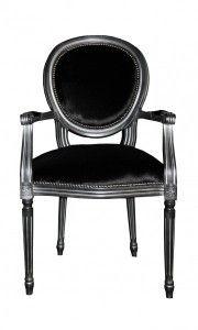 Casa Padrino Barock Esszimmer Stuhl Mit Armlehne Schwarz / Silber   Designer  Stuhl   Luxus Qualität