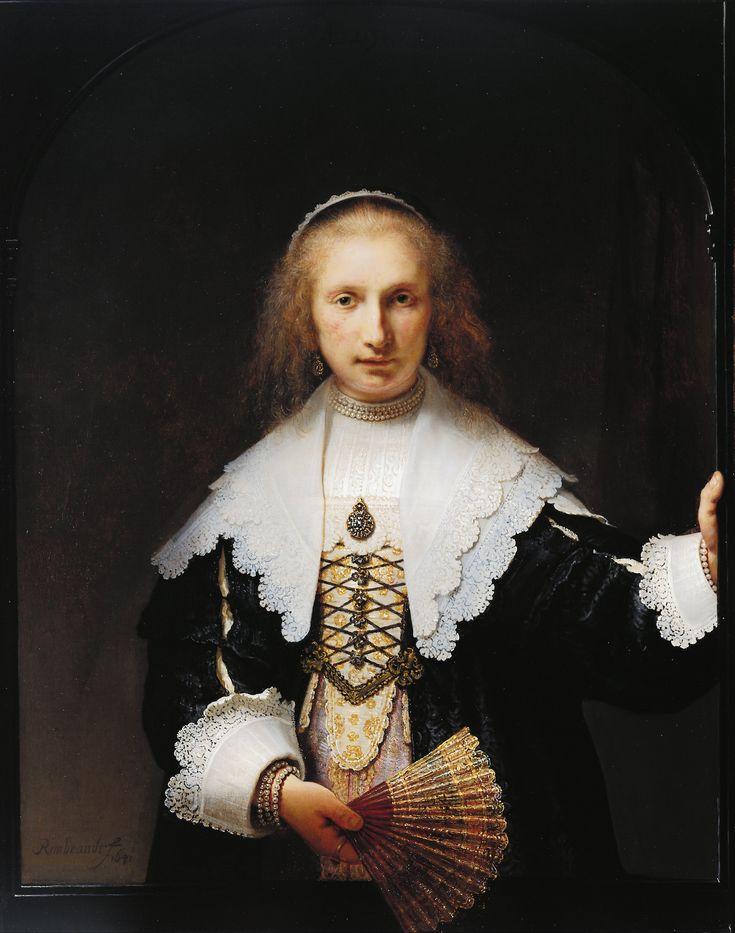 ▴ Artistic Accessories ▴ clothes, jewelry, hats in art - Rembrandt Harmenszoon van Rijn | Portrait of Agatha Bas, 1641