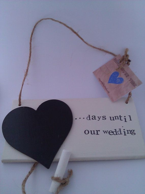 Wedding Countdown Hanging Sign - wooden blackboard / chalkboard ...days until our wedding | Personalisation Available
