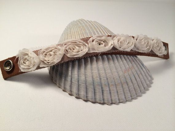 Leather Cuff Bracelet with Lace Fabric Flowers by Recreationista