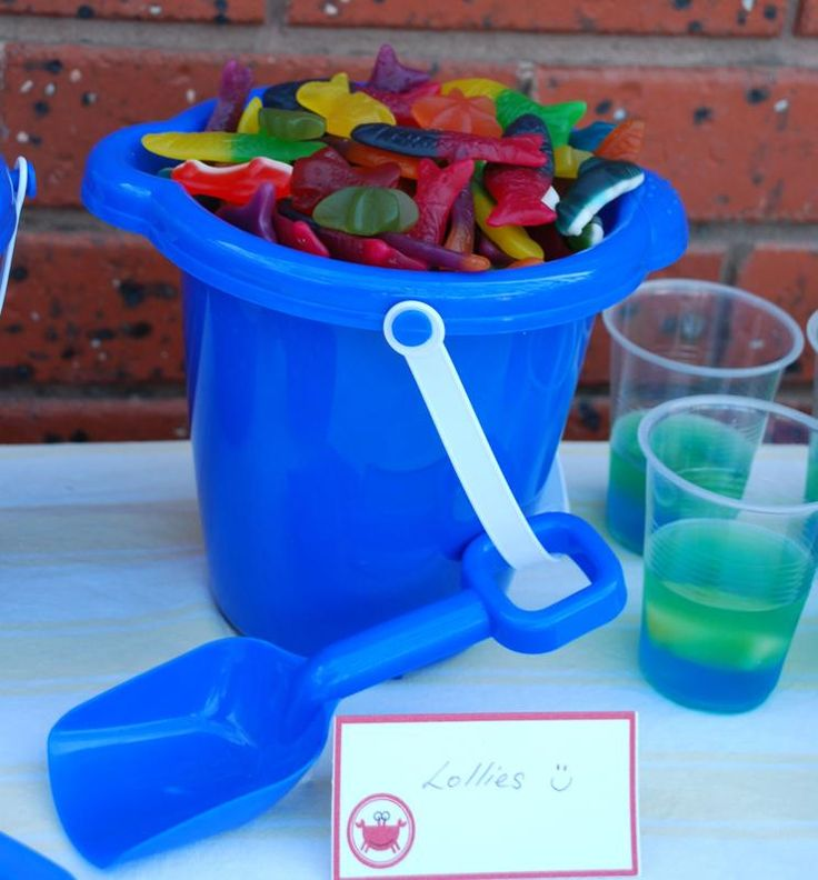 Ocean Theme Party - put food in plastic buckets! Cheap and Easy!