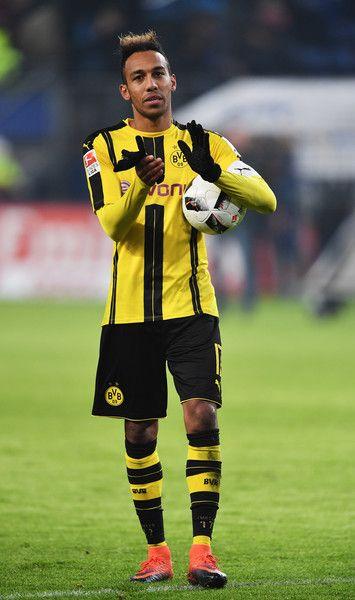 Pierre-Emerick Aubameyang of Dortmund celebrates at the end of the Bundesliga match between Hamburger SV and Borussia Dortmund at Volksparkstadion on November 5, 2016 in Hamburg, Germany.