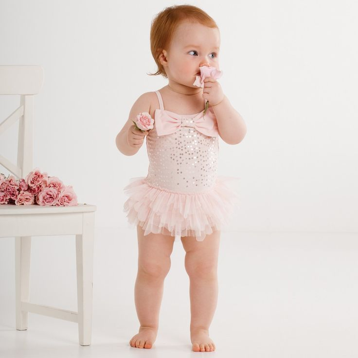 Kate Mack & Biscotti - Girls Pink 'Twinkle Toes' Swimsuit (UPF50+)