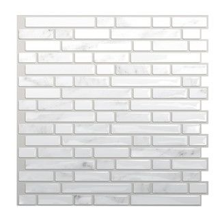 Found it at Wayfair Supply - Smart Tiles Mosaik Self Adhesive High-Gloss Mosaic in White & Grayhttp://www.wayfairsupply.com/Smart-Tiles-10-x-10-Mosaik-Self-Adhesive-Wall-Tile-in-Bellagio-Marmo-SM1044-1-SMRT1048.html?refid=SBP