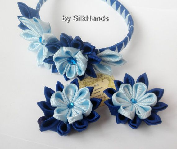 Headband Flower kanzashi with Swarovski crystal. - Blue SilkHands
