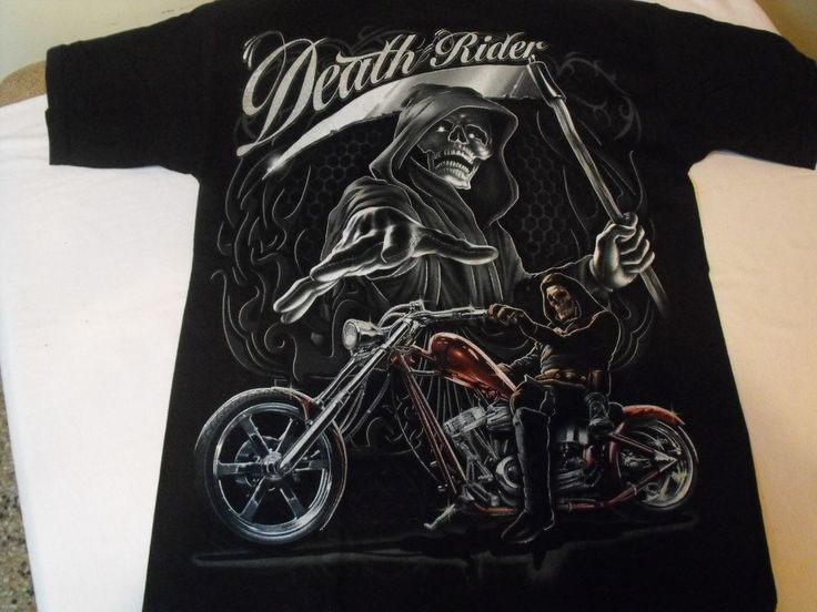 Medium Black Death Rider Grim Reeper motorcycle,  Low Rider t-shirt. #Nobrand #GraphicTee