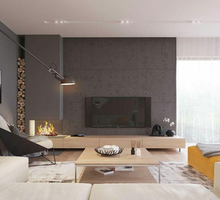 Kamin und Beton-Optik
