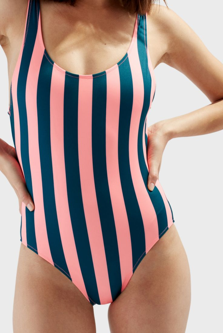 Coral and Jade Striped Swimsuit.