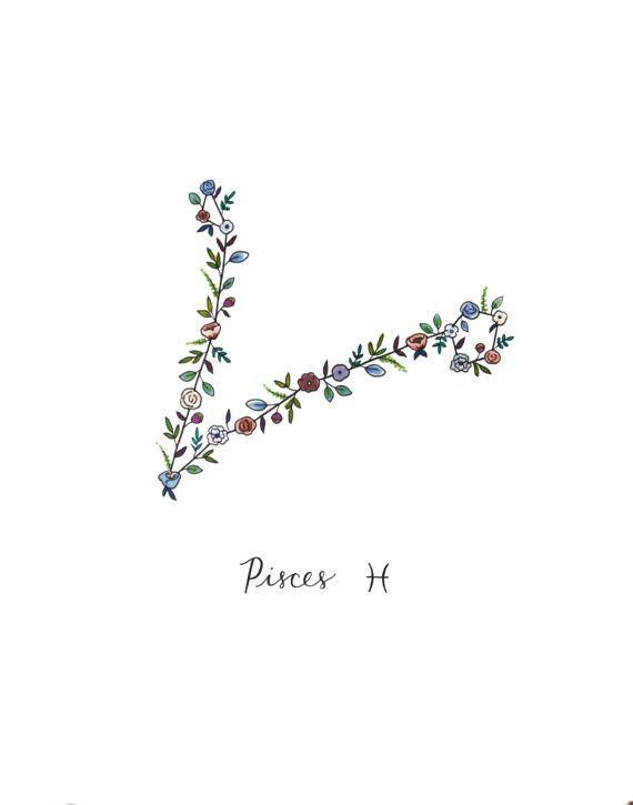 Zodiac PISCES Floral Constellation Print Pisces Zodiac