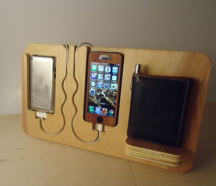 Iphone 4, 4s, 5, ipod touch, His & Hers Docking Valet. $48.00, via Etsy. (David's bday gift maybe)