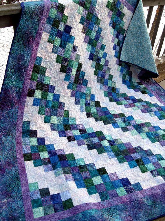 Nightfall 77x96 jewel tone batik quilt by pinetreelodge on Etsy, $295.00