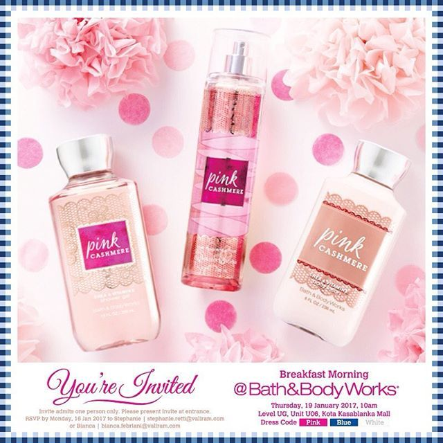 Come and join the launching celebration of Pink Cashmere Collection. Daftarkan diri anda untuk mendapat kesempatan merasakan koleksi signature terbaru Bath&BodyWorks yang akan diselenggarakan pada Kamis 19 Januari 2016 di Bath&BodyWorks Kota Kasablanka. Win fashionable prize from instagram contest and bring home goodies from Bath&BodyWorks. RSVP. Chandra 0857 81952668  via ELLE INDONESIA MAGAZINE OFFICIAL INSTAGRAM - Fashion Campaigns  Haute Couture  Advertising  Editorial Photography…