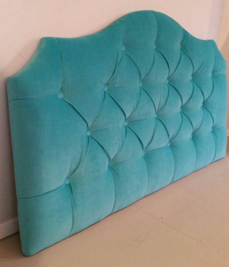 Full turquoise velvet tufted upholstered headboard custom wall mounted