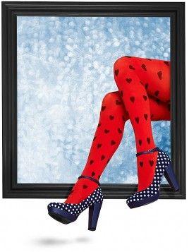 Margot Herz-Strumpfhose Red and Black maillot rood zwart harten print hearts tights