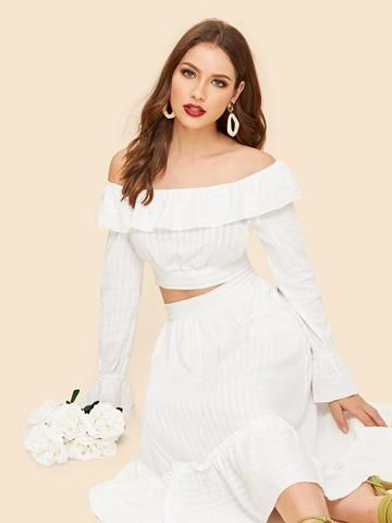 9ed6a8d94708bf Off Shoulder Foldover Top   Pleated Skirt Set