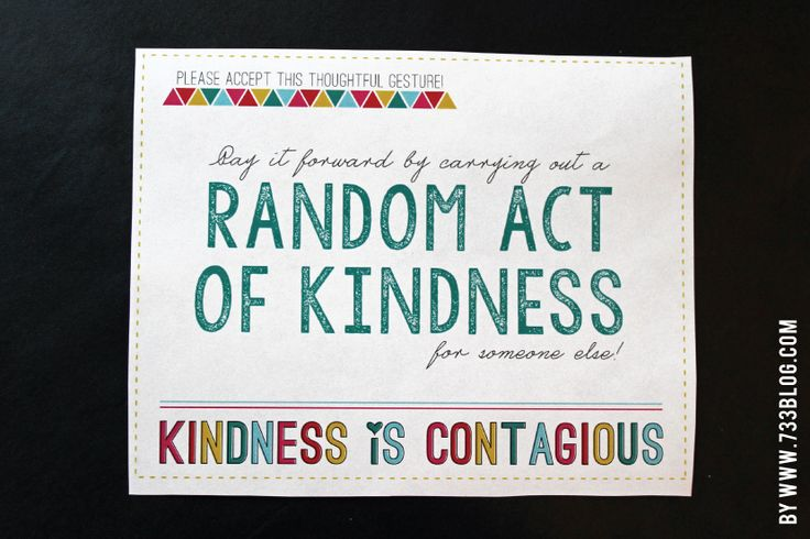 Random Acts of Kindness Ideas and Free Printable - seven thirty three