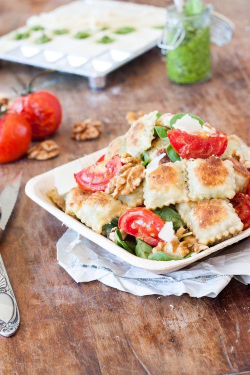 Salade de Ravioles Frites (farcies au pesto Noix/Epinard)