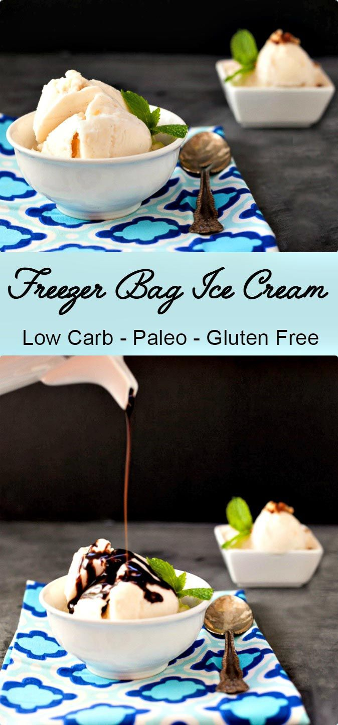 Easy Freezer Bag Ice Cream  is simple to make and  no ice cream maker is needed.  Only a few ingredients and has a low carb and paleo option. Oh, and the low carb version is incredible! via @staceyloucraw