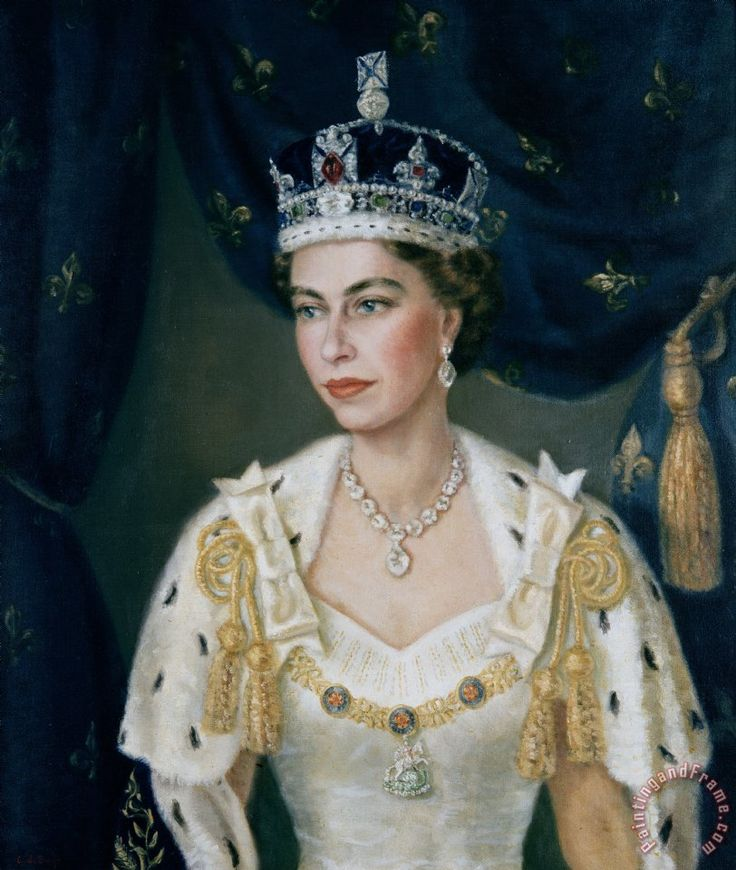 Portrait of Queen Elizabeth II wearing coronation robes ...