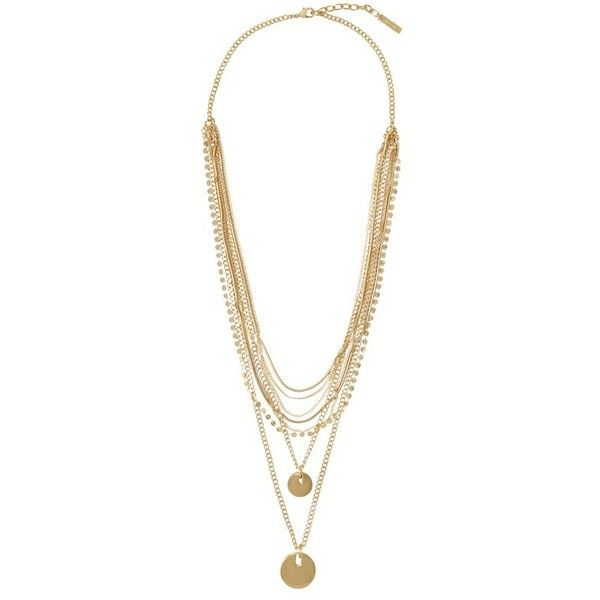 Vince Camuto Multi Chain Disc Necklace found on Polyvore