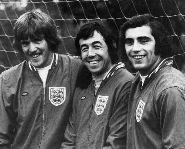 1972 - England goalkeepers Phil Parkes, Gordon Banks and Peter Shilton at England's training base in Roehampton
