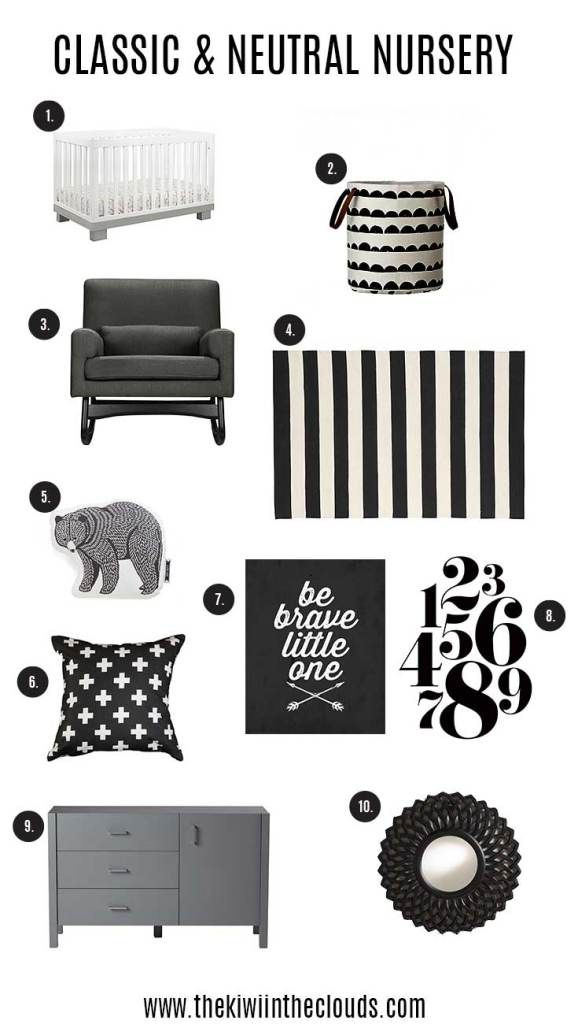 The NEW neutral nursery is black and white. I love the monochrome look and hie is an inspiration board to help you get started designing your perfect kid's room!