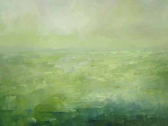 Dit is een origineel olieverfschilderij op een 20 x 20 inch gallery gewikkeld doek met 1-1/2 inch brede randen. De randen van het doek zijn nietje gratis en ik heb ze wit geschilderd zodat kunt u het indien gewenst ingelijste kunst ophangen. Ik heb een diep bos groen gebruikt voor het veld in dit abstract landschap met een cerulean blauwe hemel. De lucht en de wolken hebben ondertoon van roze en geel en ik heb enkele lichte groene en gele accenten toegevoegd aan de wazige horizon. Ik g...