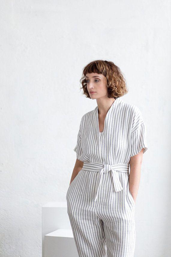 167911300afa Striped Linen Jumpsuit - Linen Kimono Jumpsuit - Summer Striped Linen  Jumpsuit - Handmade by OFFON