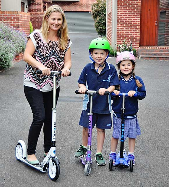 Mum joins in on the Micro Scooter School run! A scooter is the perfect gift for Mum this Mother's Day! She'll keep up, get active, save time and have fun :)