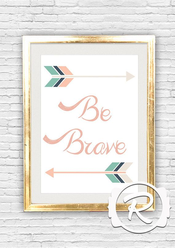 Typographic Quote Wall Print Be Brave Hipster by RubyRidgeStudios, $5.95