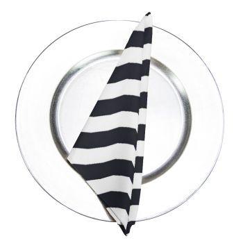 Black Printed Stripe Napkin