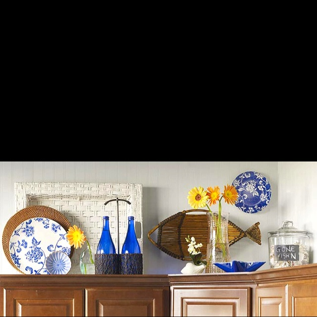 Love This Idea For Decorating Above The Kitchen Cabinets