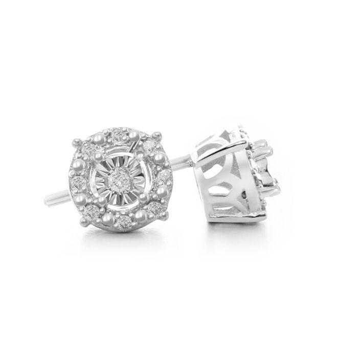 1 10 Carat Halo Diamond Stud Earrings In Sterling Silver Superjeweler Diamond Earrings Studs Diamond Studs Halo Diamond Earrings