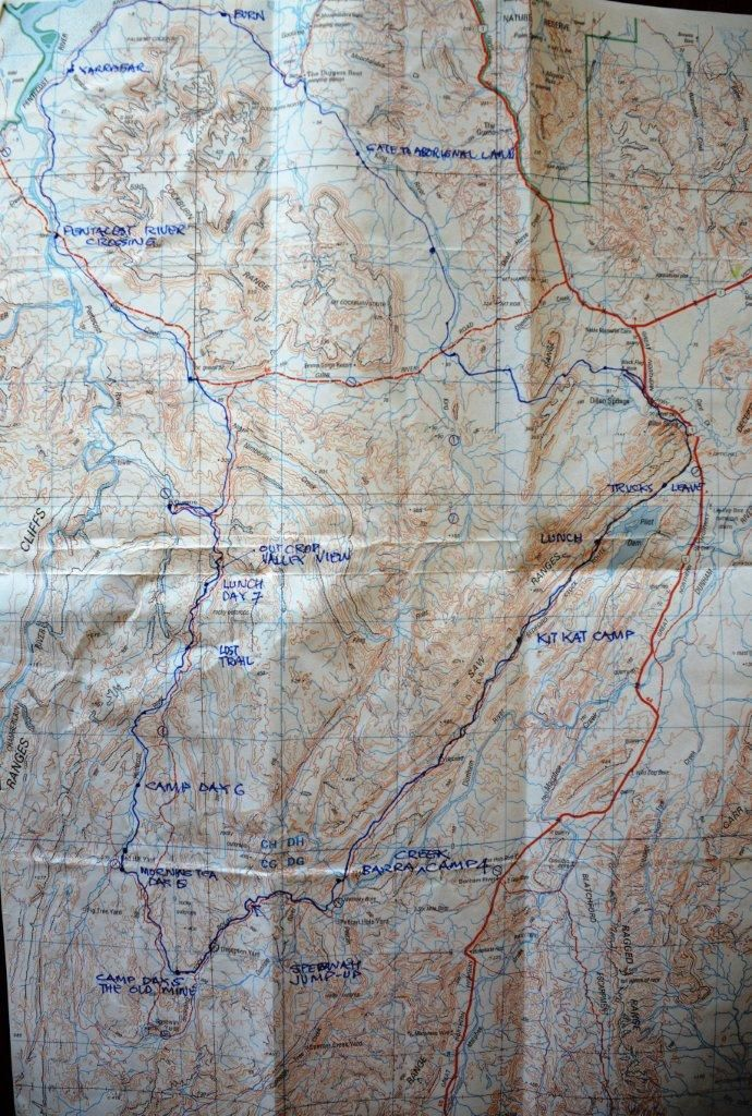 Map showing the 2010 Speewah valley ride. The trek starts at Diggers heads down to Wagabung, on down the Bedford stock route to the old mine then on to El Questro and back to Diggers Rest.....a fantastic adventure.
