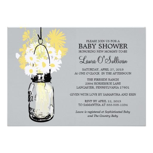 rustic mason jar daisies baby shower card