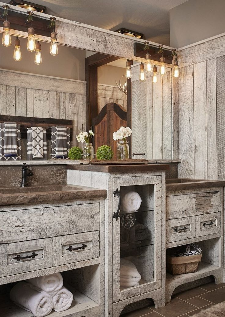 37 rustic farmhouse bathroom remodel ideas 17