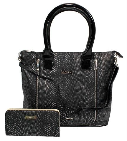 La Pearla Black Snakeskin 2 Zipper Bag and Purse Combo R499 Snakeskin two zipper tote bag and purse combo  Features Colour: Black  Four external zippers  Ample internal storage pouches