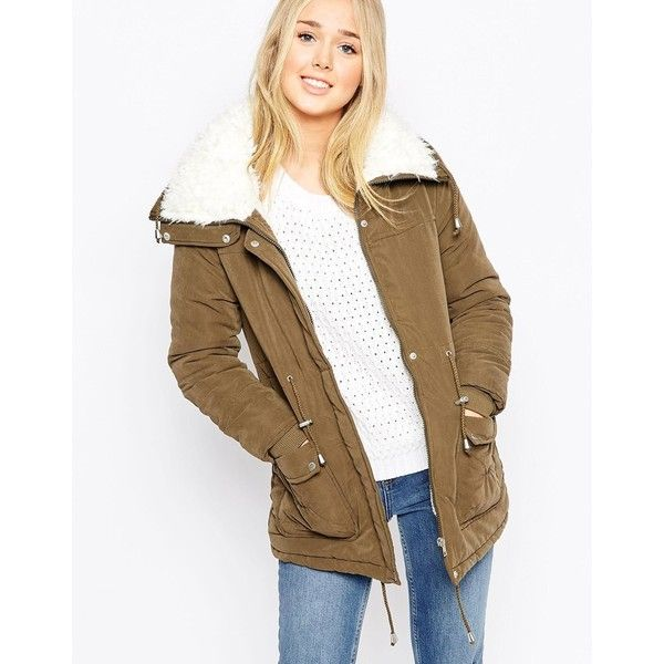 Brave Soul Parka With Fluffy Faux Fur Hood ($99) ❤ liked on Polyvore featuring outerwear, coats, khaki, brown parka, khaki parka, brown coat, parka coat and khaki coat