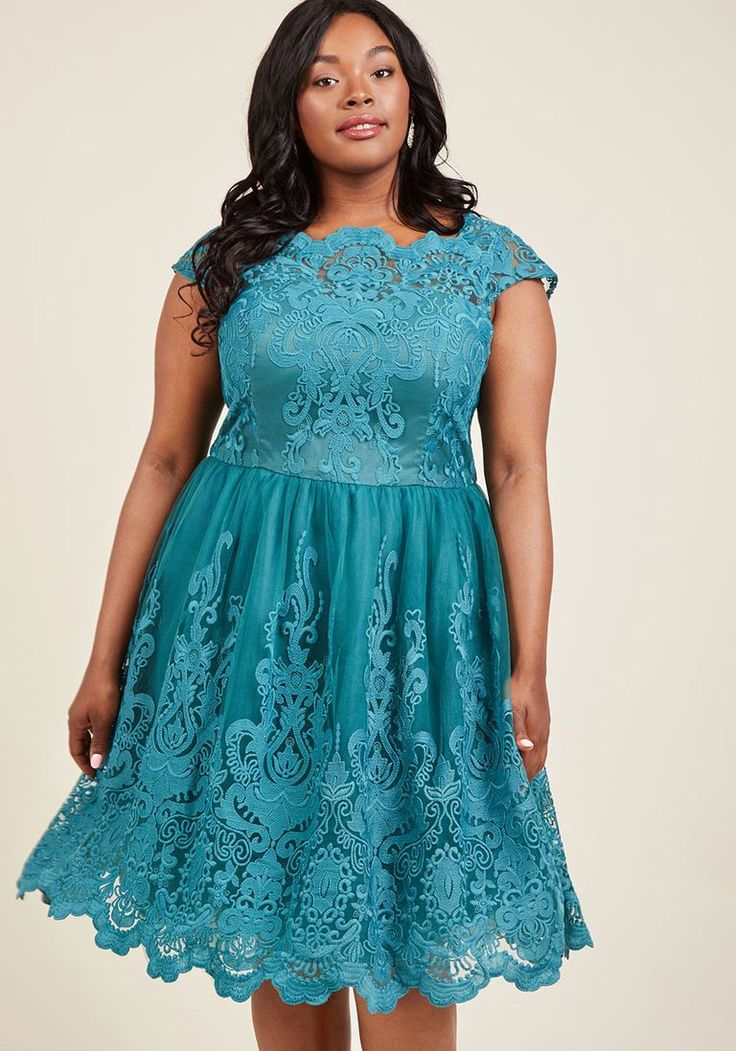 Plus Size Retro Fashion Dress- Teal-  Exquisite Elegance Lace Dress in Lake in 14 $175.00 AT vintagedancer.com