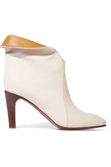 Chloé - Leather-paneled Canvas Ankle Boots - SALE20 at Checkout for an extra 20% off