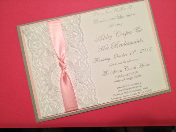 Pink, Grey and White Lace Bridal Shower Invitations on Etsy, $27.50
